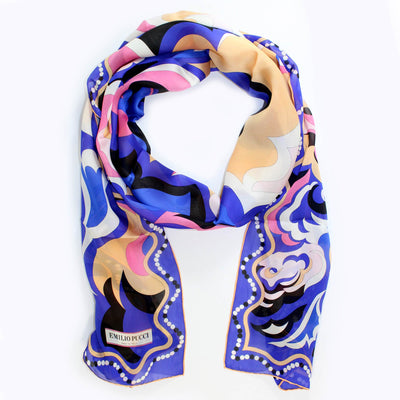 Emilio Pucci Scarf Signature Purple Design - Chiffon Silk Shawl