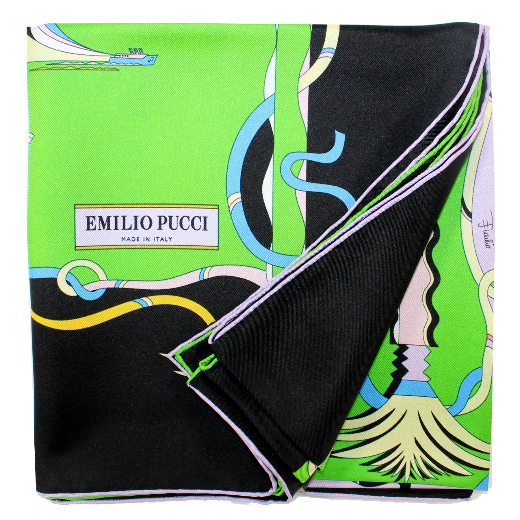 Emilio Pucci Scarf Paradise Black Lime Lavender - Large Twill Silk Square Scarf SALE