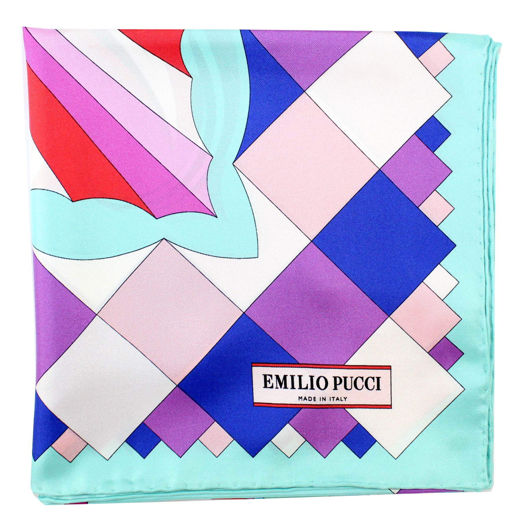 Emilio Pucci Scarf Purple Blue Red Floral - Large Twill Silk Square Scarf