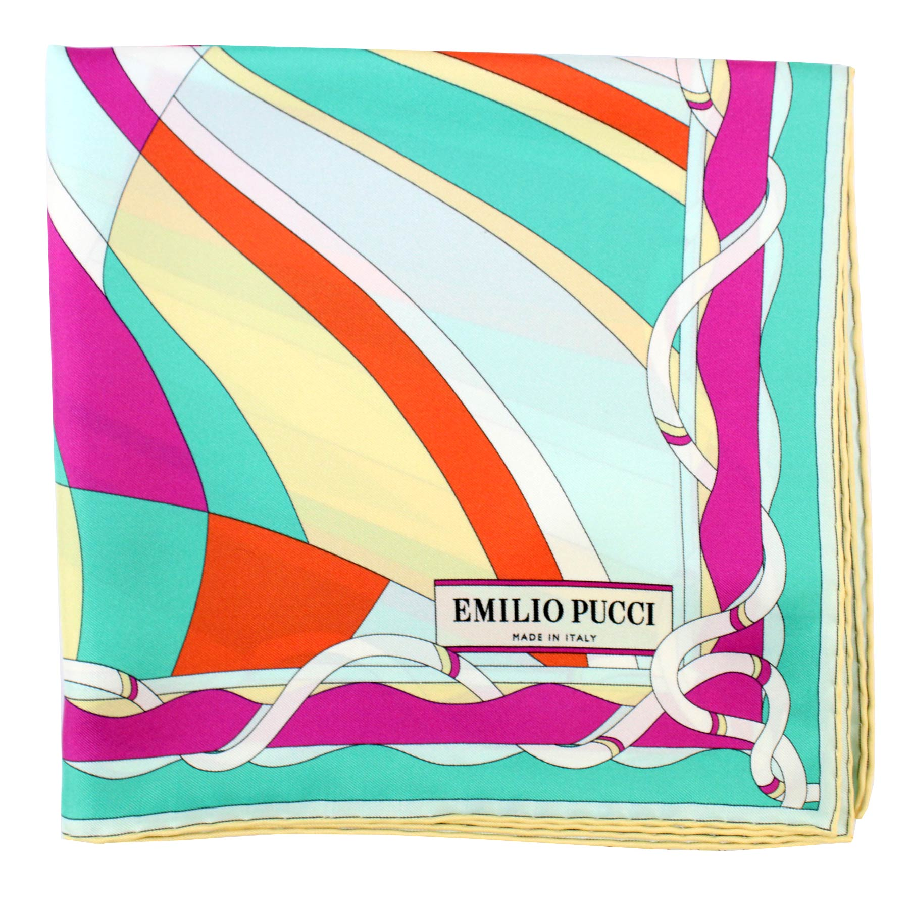 Emilio Pucci Scarf Emerald Yellow Orange Swirl