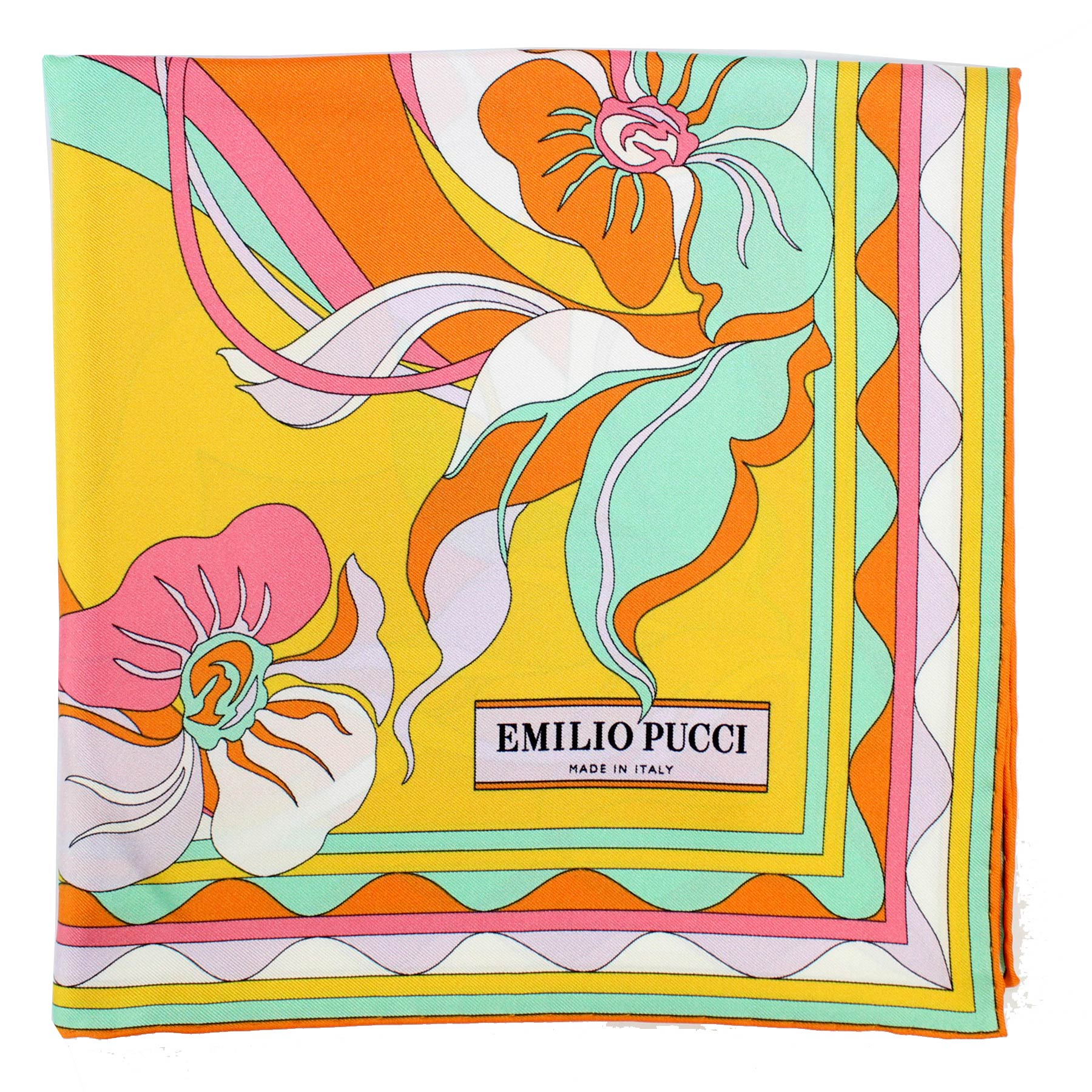 Emilio Pucci Scarf Orange Mint Pink Floral - Large Twill Silk Square Scarf
