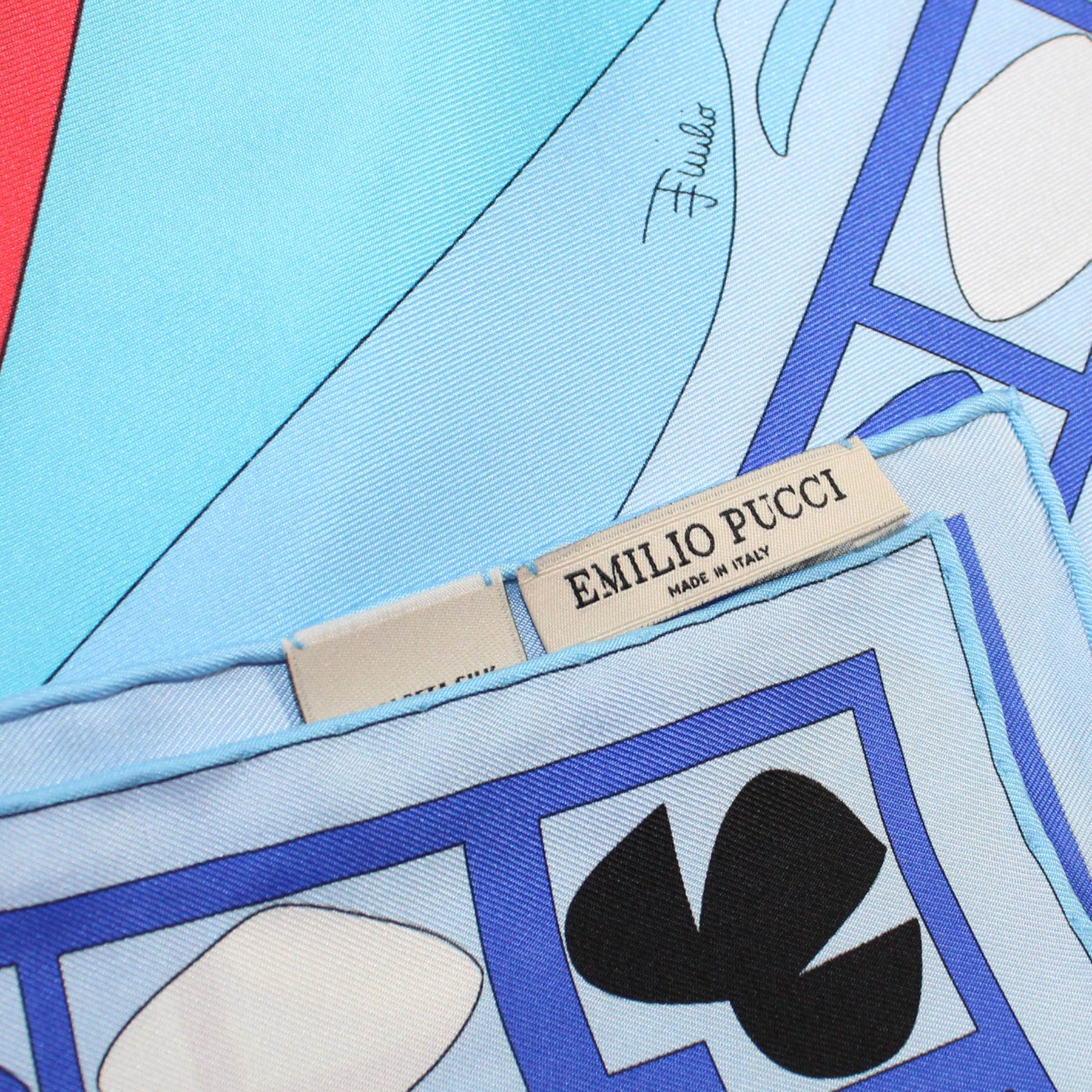 Emilio Pucci Silk Scarf Blue Red Design