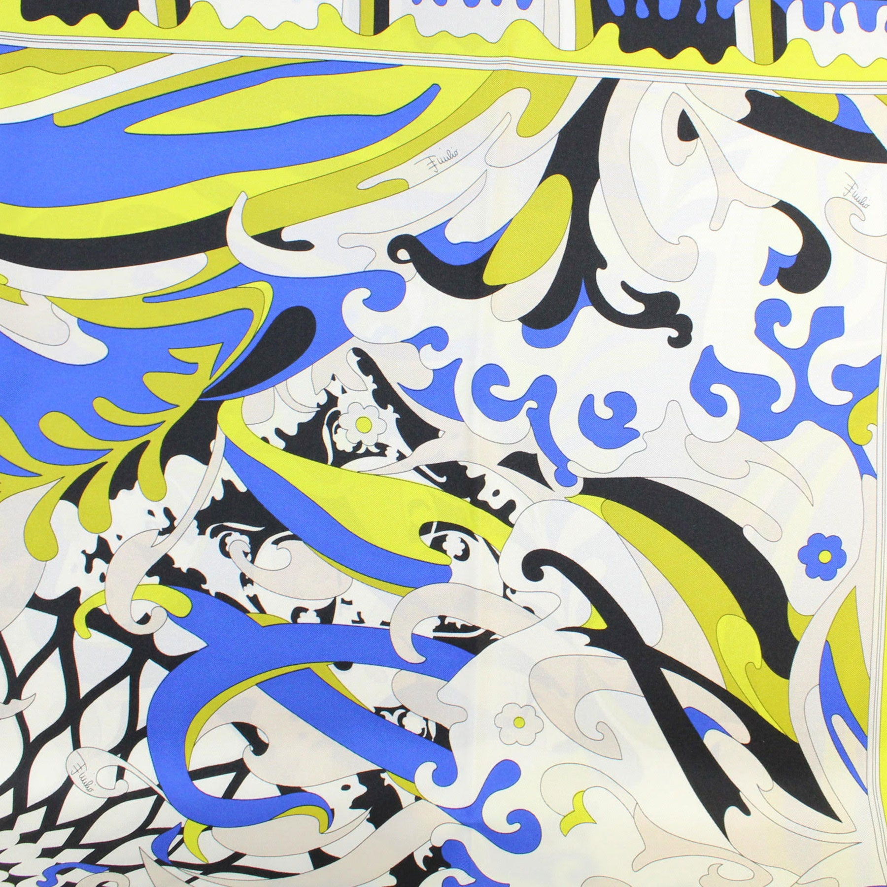 Emilio Pucci Silk Scarf Blue Yellow Black Ornamental Design - Large Twill Silk Square Scarf