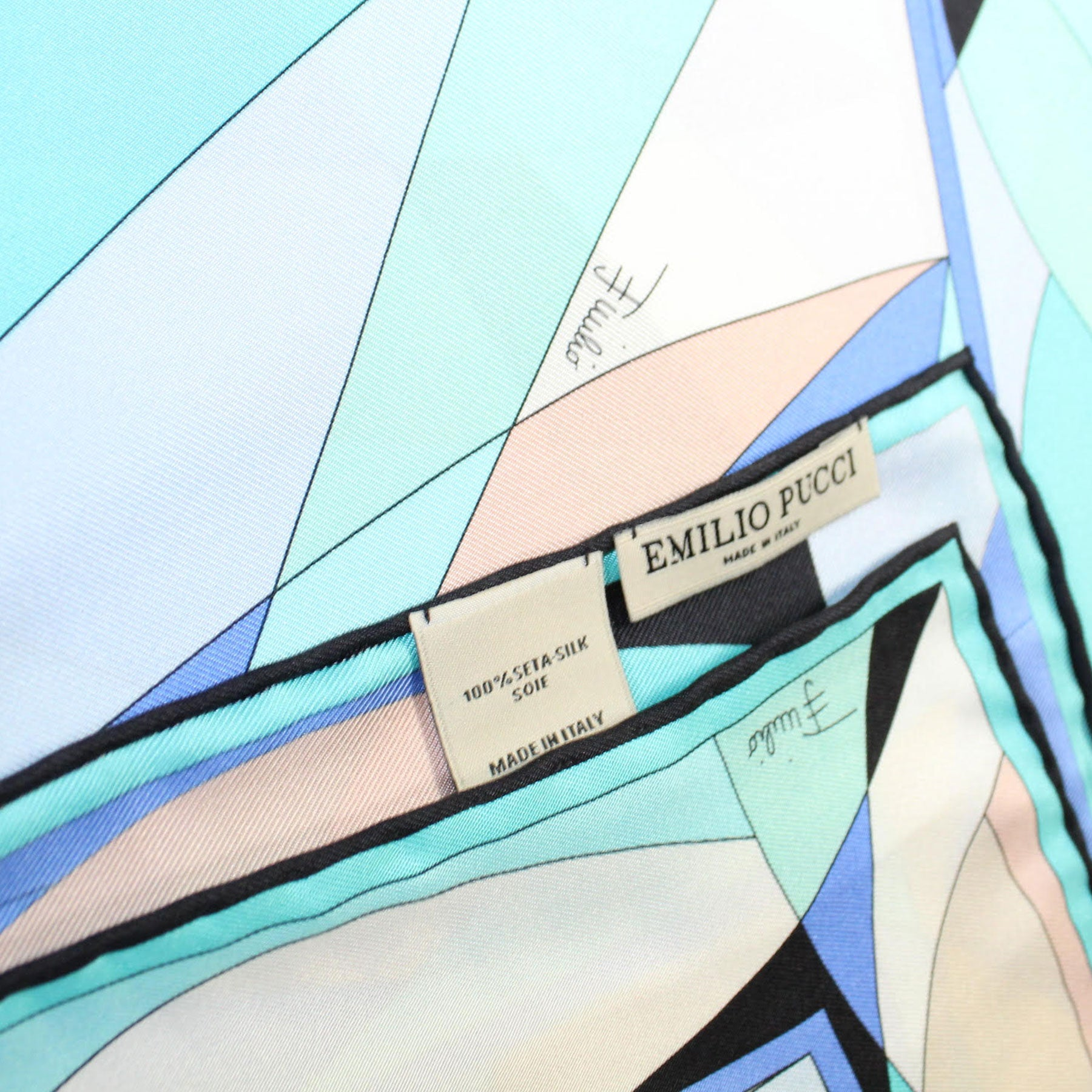 Emilio Pucci Silk Scarf Aqua Black Blue Design - Large Twill Silk Square Scarf