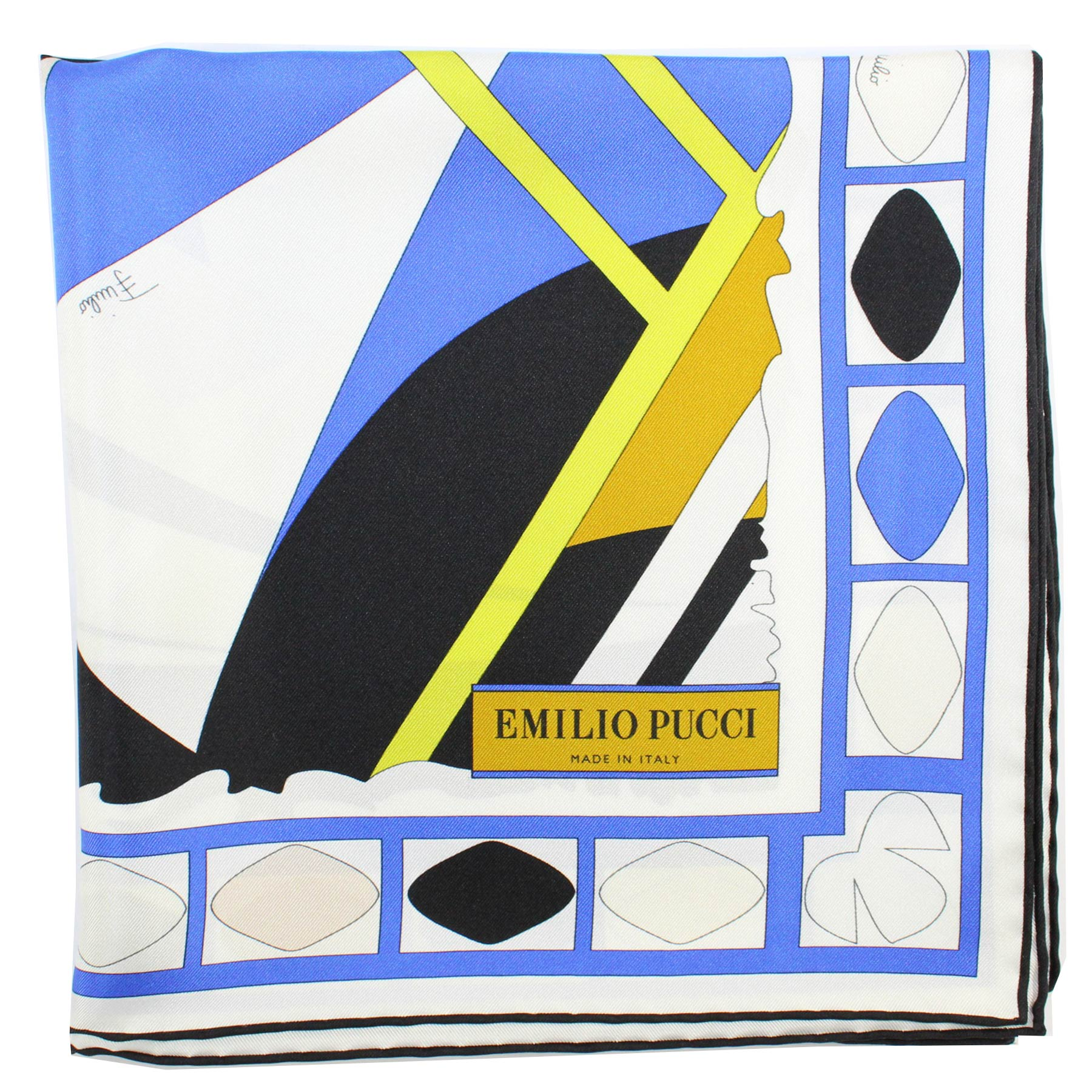 New Pucci Silk Scarf Blue Lime Design