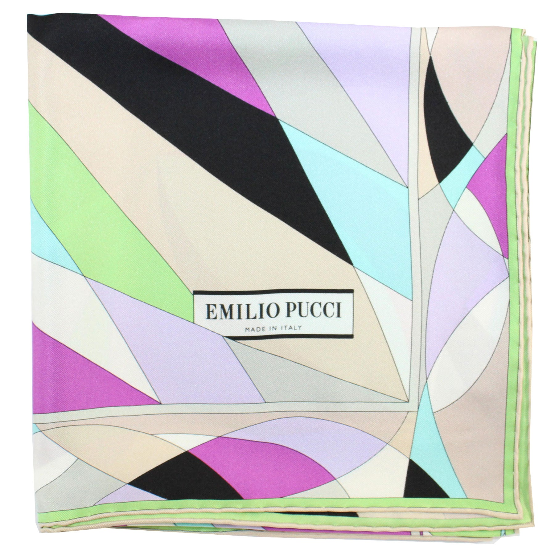 Emilio Pucci Silk Scarf Purple Lilac Lime Design - Large Twill Silk Square Scarf