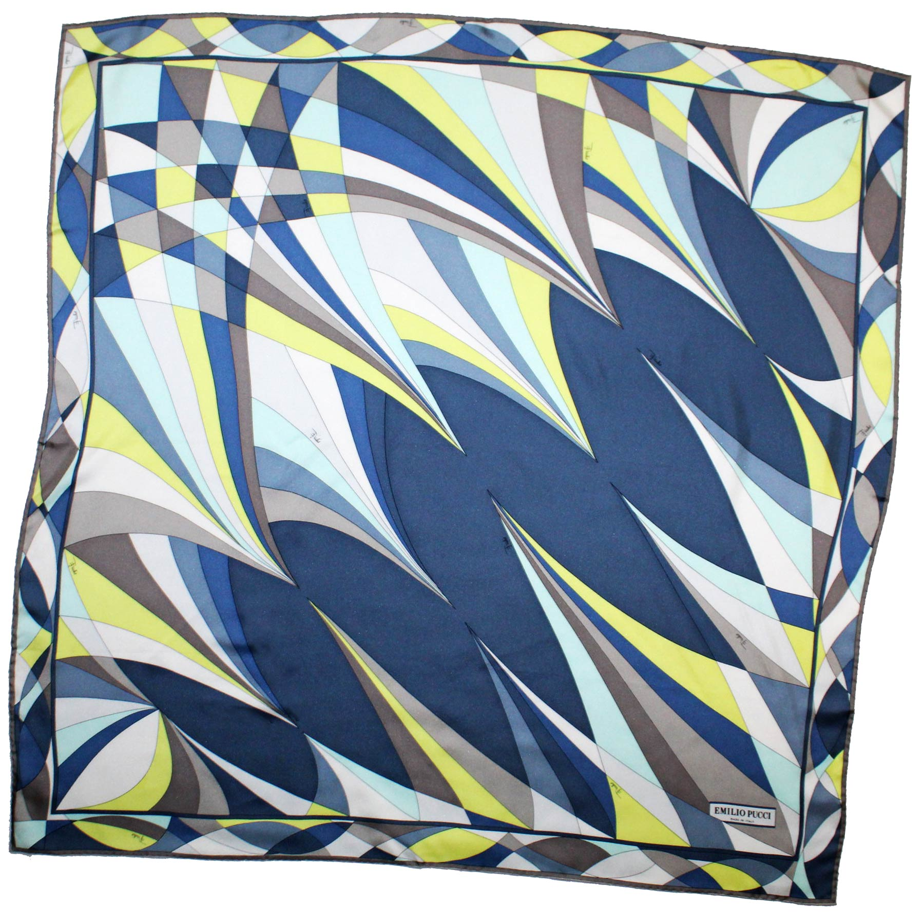 Emilio Pucci Silk Scarf Gray Navy Yellow Design - Large Twill Silk Square Scarf