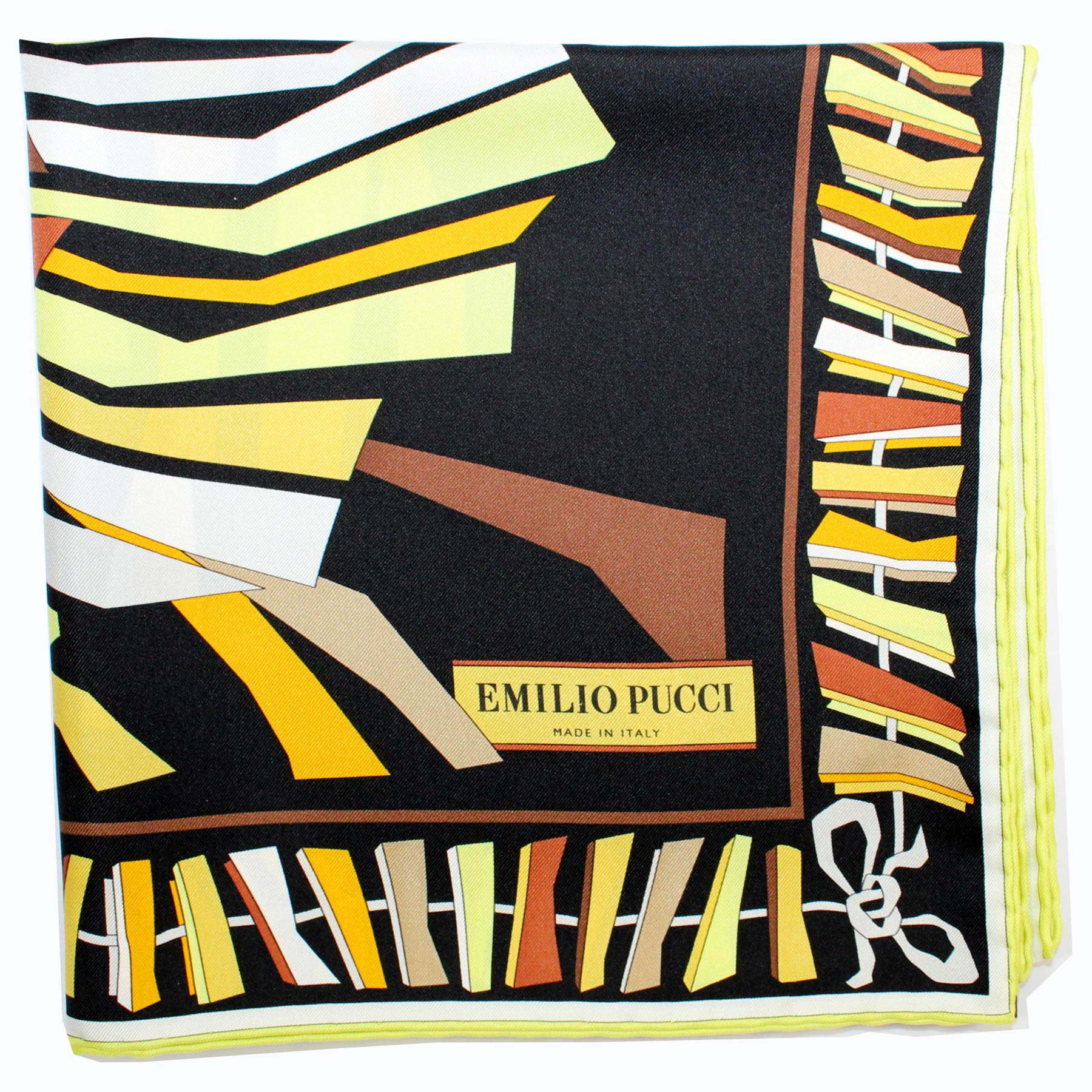 Emilio Pucci Scarf Black Brown Yellow Design - Large Twill Silk Square Scarf