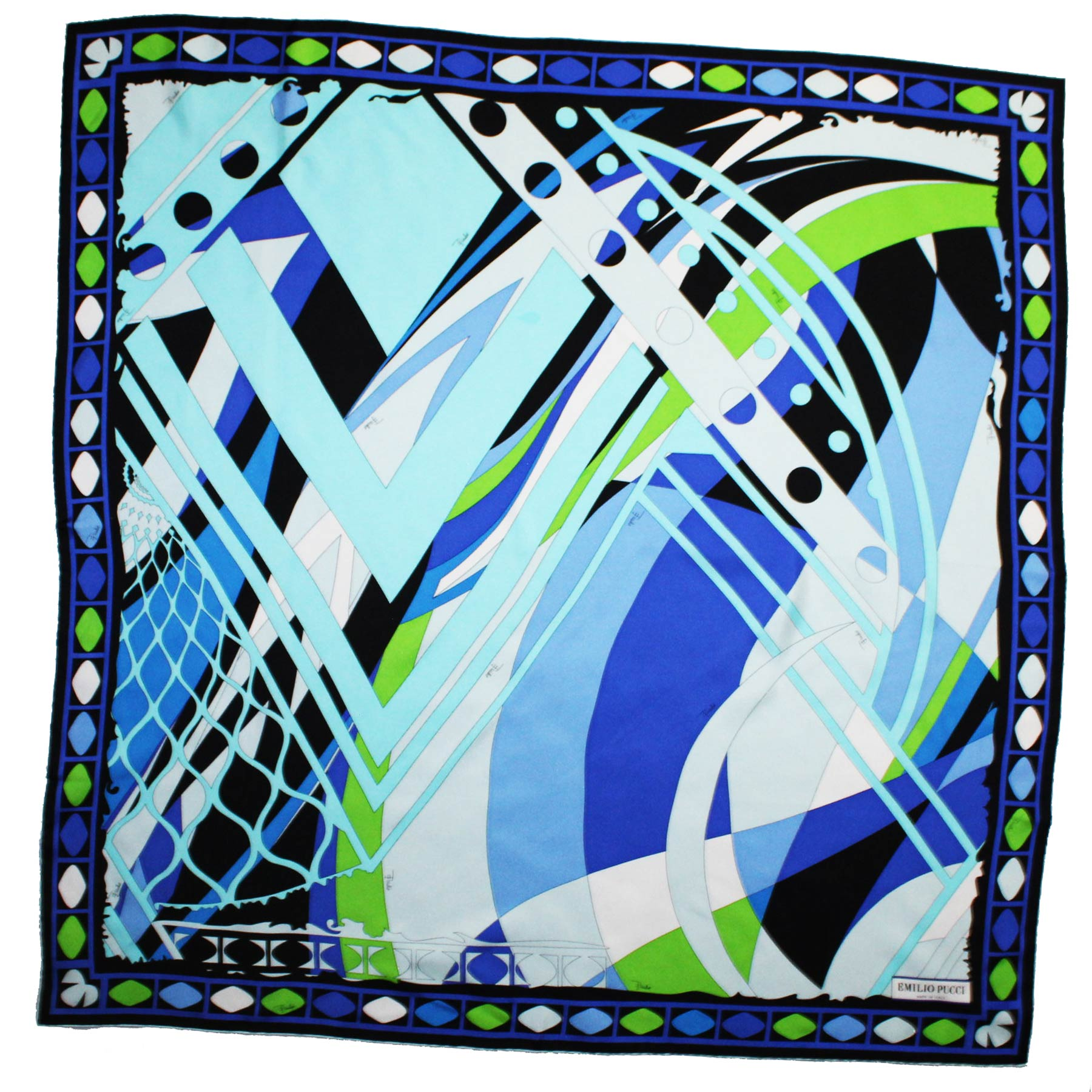 Emilio Pucci Scarf Royal Blue Lime Design - Large Twill Silk Square Foulard