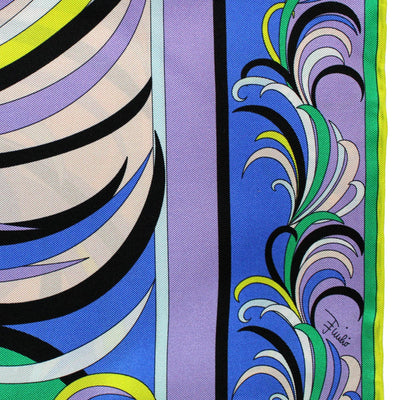 Royal Blue Lilac Green Signature Design Large Twill Silk Foulard