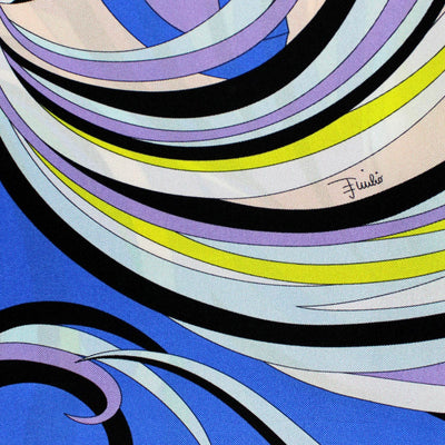 Emilio Pucci Scarf Royal Blue Lilac Green Signature Design Large Twill silk Square Scarf SALE