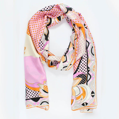 Emilio Pucci Scarf Orange Pink Signature Design Twill Silk Shawl