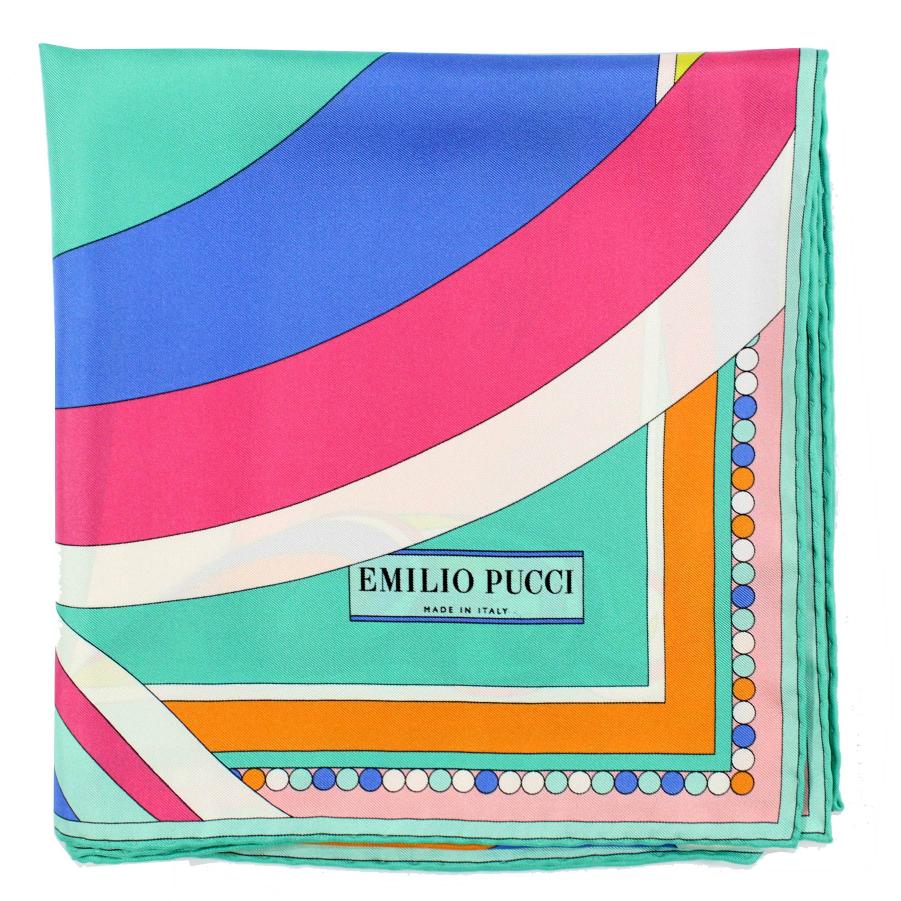 Emilio Pucci Scarf Mint Pink Blue Orange Signature Design