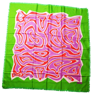 Emilio Pucci Scarf Lime Lilac Design - Extra Large Silk Square Scarf SALE