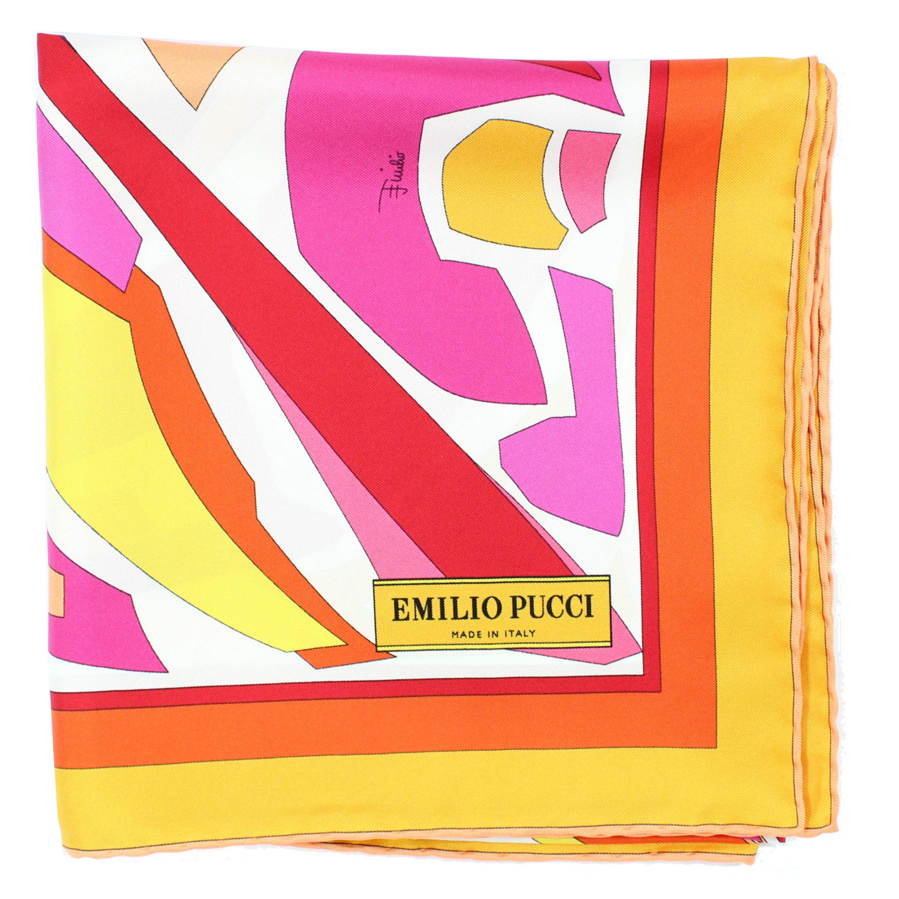Emilio Pucci Scarf Orange Yellow Pink Design