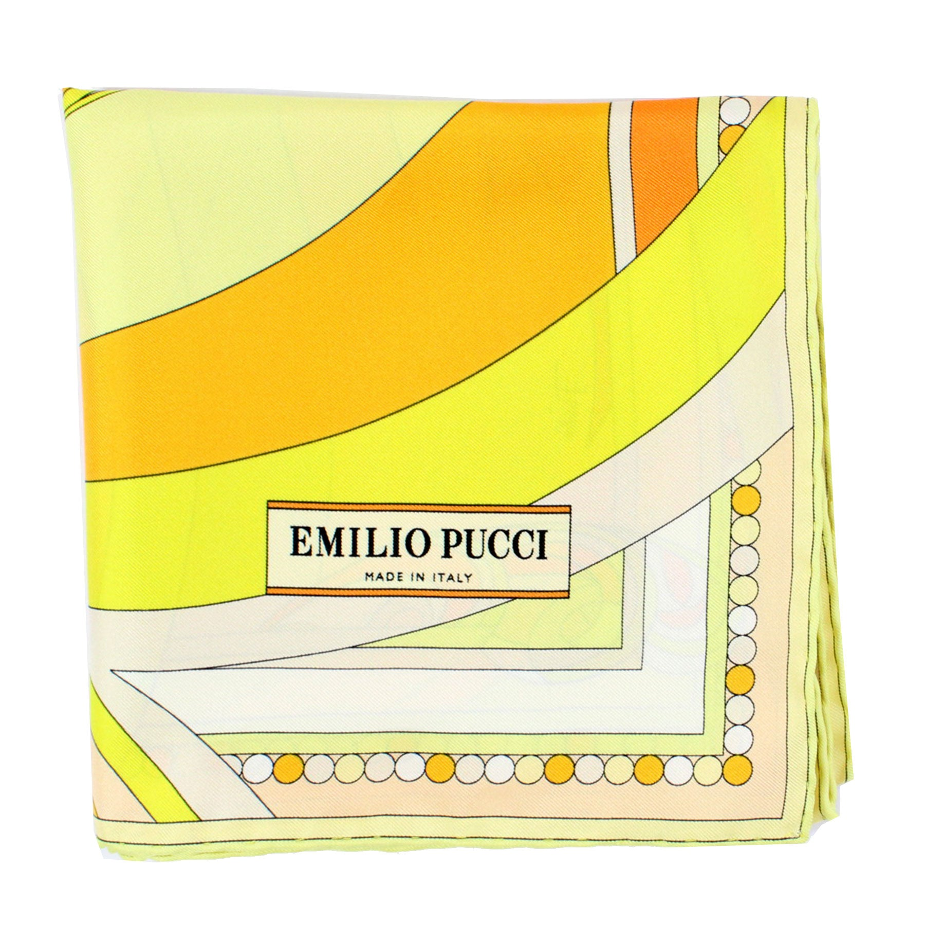 "Emilio Pucci Scarf Yellow Orange Design - Twill Silk 27"" Square Scarf"