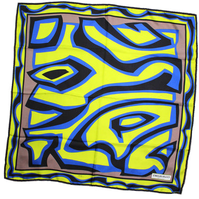 "Emilio Pucci Scarf Brown Lime Royal Blue Design - Twill Silk 27"" Square Scarf"