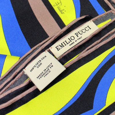 Emilio Pucci Scarf Brown Lime Royal Blue