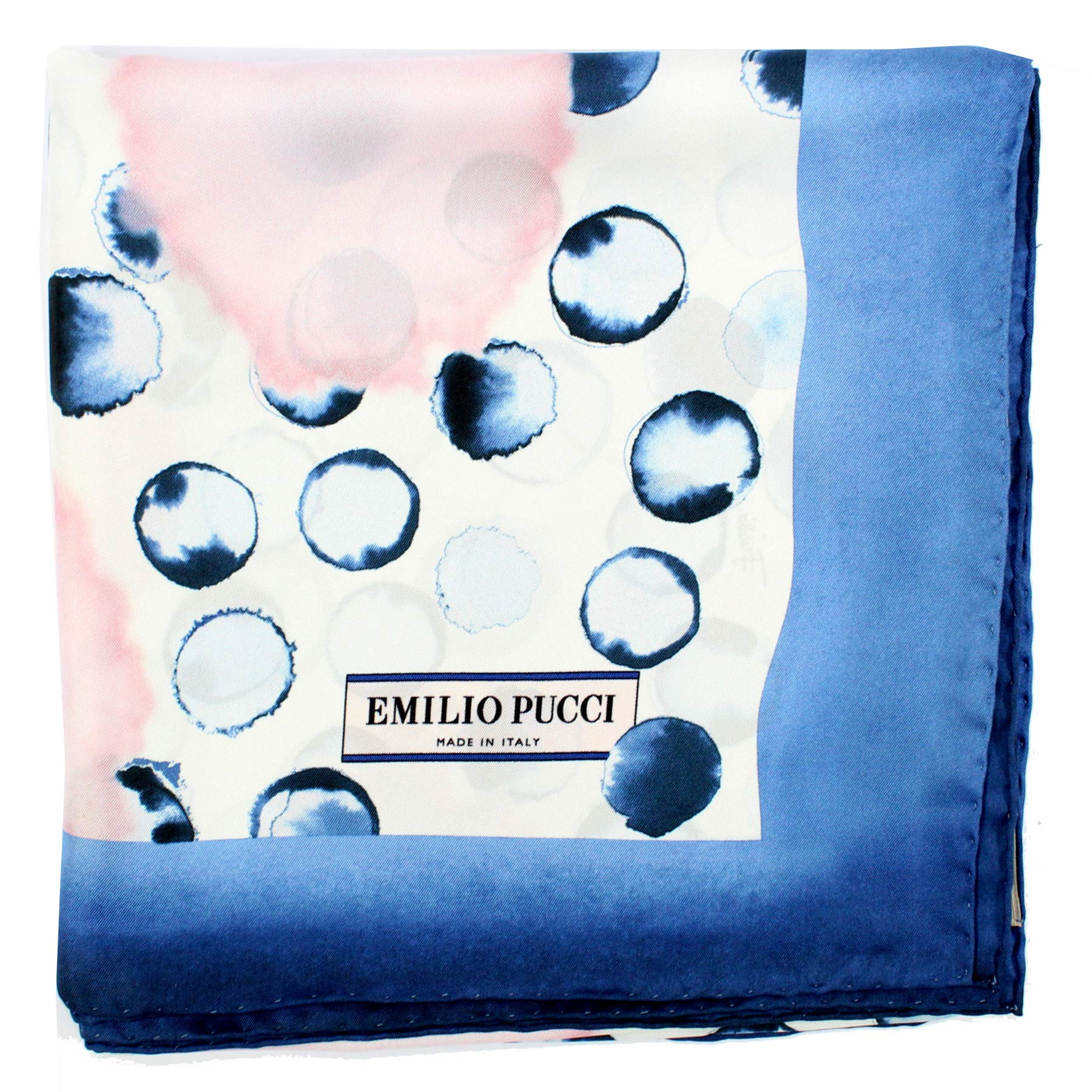 Emilio Pucci Scarf Midnight Blue Dots Design - Large Twill Silk Square Scarf