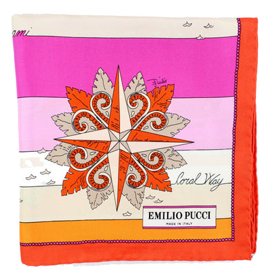 Emilio Pucci Scarf Fuchsia Orange Beach Design