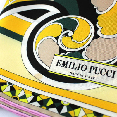 Emilio Pucci Scarf Chartreuse Orange Pink Flamingo Design - Large Twill Silk Square Scarf