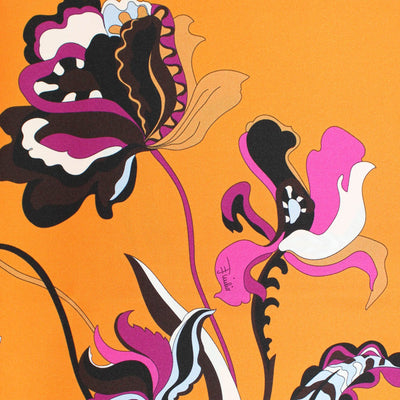 Emilio Pucci Scarf Fuchsia Orange Brown Floral & Geometric Design - Large Twill Silk Square Scarf SALE