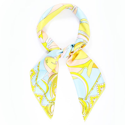 Emilio Pucci Scarf Lime Pink Powder Blue Signature Design - Large Twill Silk Square Scarf
