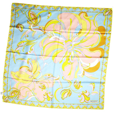 Emilio Pucci Scarf Lime Pink Powder Blue Signature Design Twill Silk Square Scarf