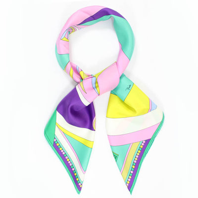 Emilio Pucci Scarf Pink Yellow Purple Emerald Signature Design - Large Twill Silk Square Scarf