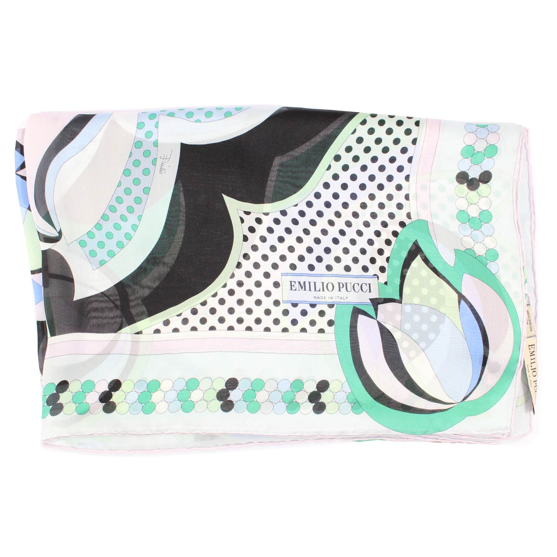 Emilio Pucci Scarf Green Blue - Extra Large Chiffon Silk Wrap SALE