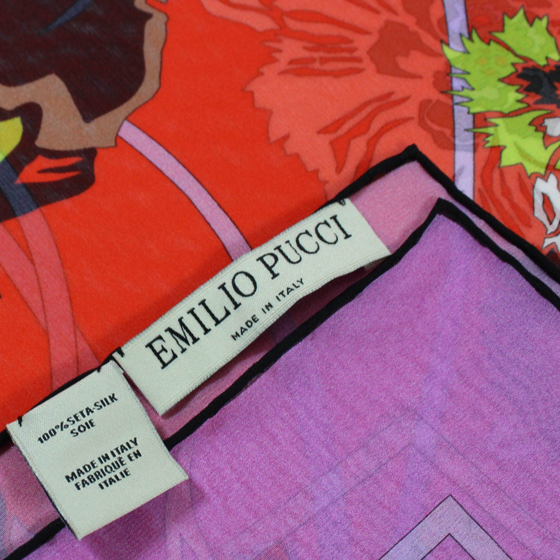 Emilio Pucci Scarf Red Pink Floral - Chiffon Silk Shawl BLACK FRIDAY SALE