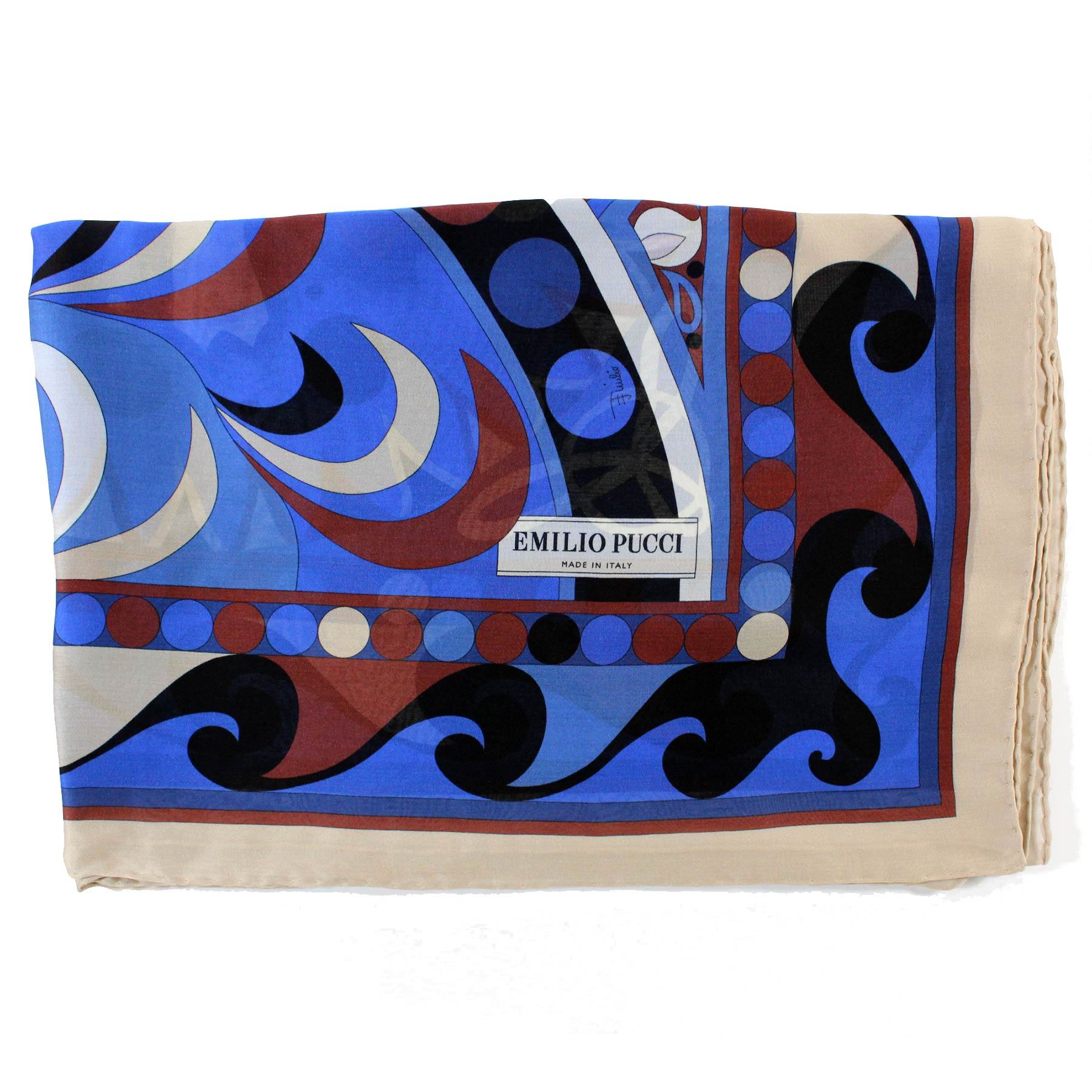 Emilio Pucci Scarf Royal Blue Brown Cream