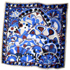 Emilio Pucci Scarf Royal Blue Brown Cream Signature Design - Extra Large Chiffon Silk Wrap