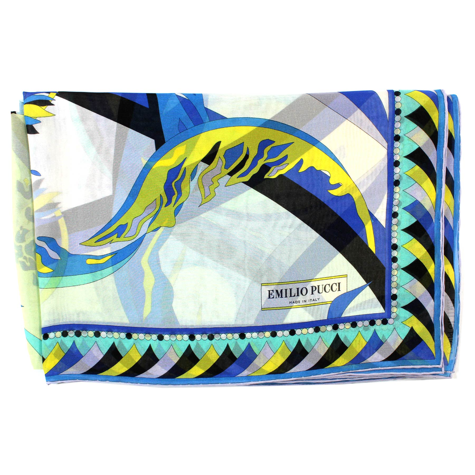 Emilio Pucci Scarf Royal Blue Yellow