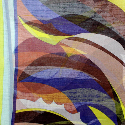 Emilio Pucci Scarf Brown Lime Lapis Blue Design - Chiffon Silk Shawl