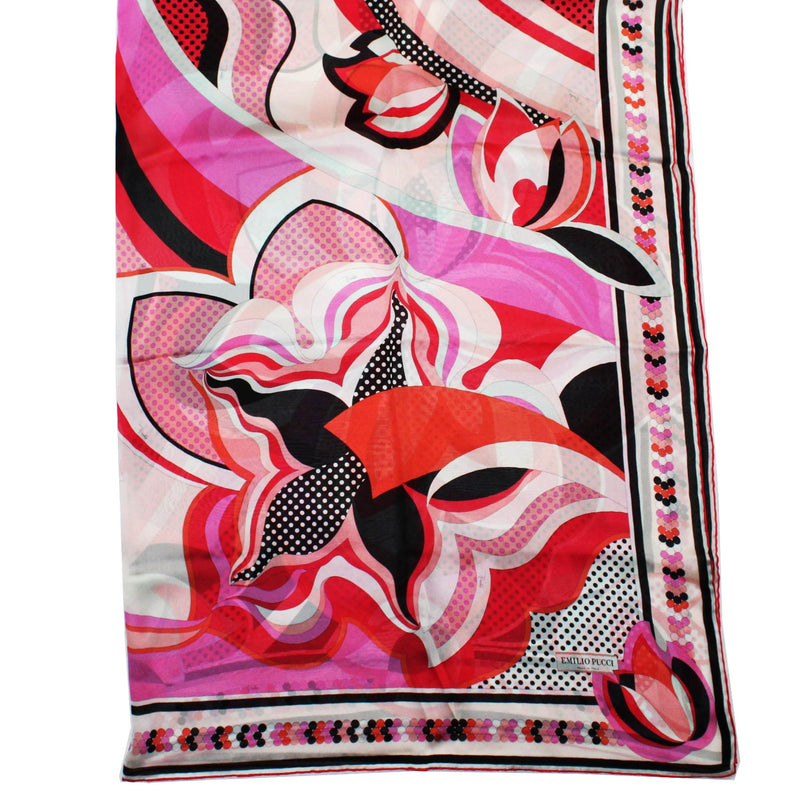Emilio Pucci Extra Large Square Twill Silk Wrap Pink Red