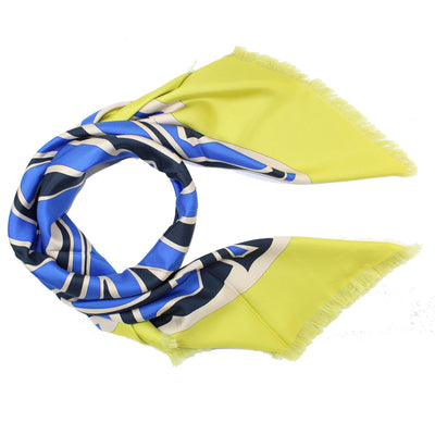 Emilio Pucci Scarf Royal Blue Lime - Extra Large Silk Square Scarf SALE
