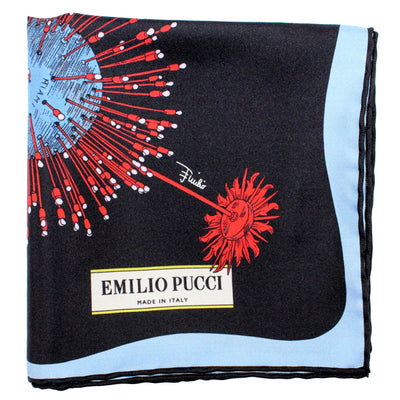 "Emilio Pucci Scarf Black Red Blue Florida Design - Twill Silk 27"" Square Scarf"