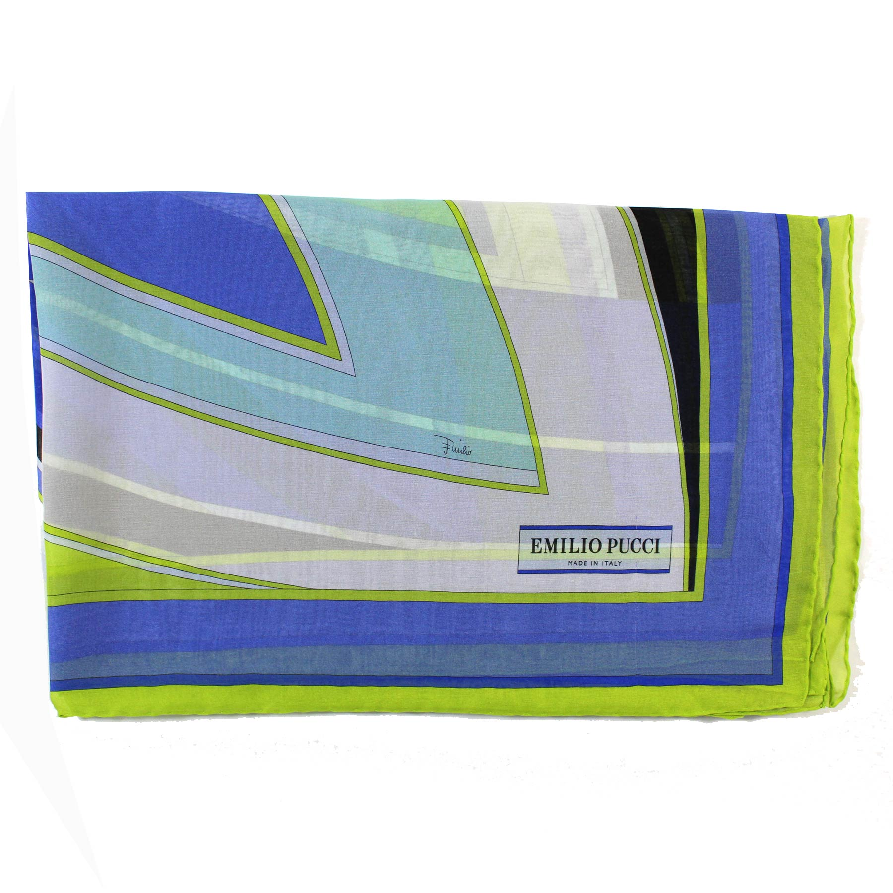 Emilio Pucci Scarf Royal Blue Lime Signature Print - Chiffon Silk Women Shawl