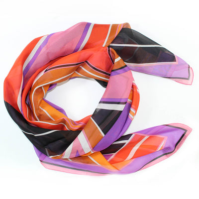Emilio Pucci Scarf Purple Red Orange Brown Pink - Chiffon Silk Women Shawl