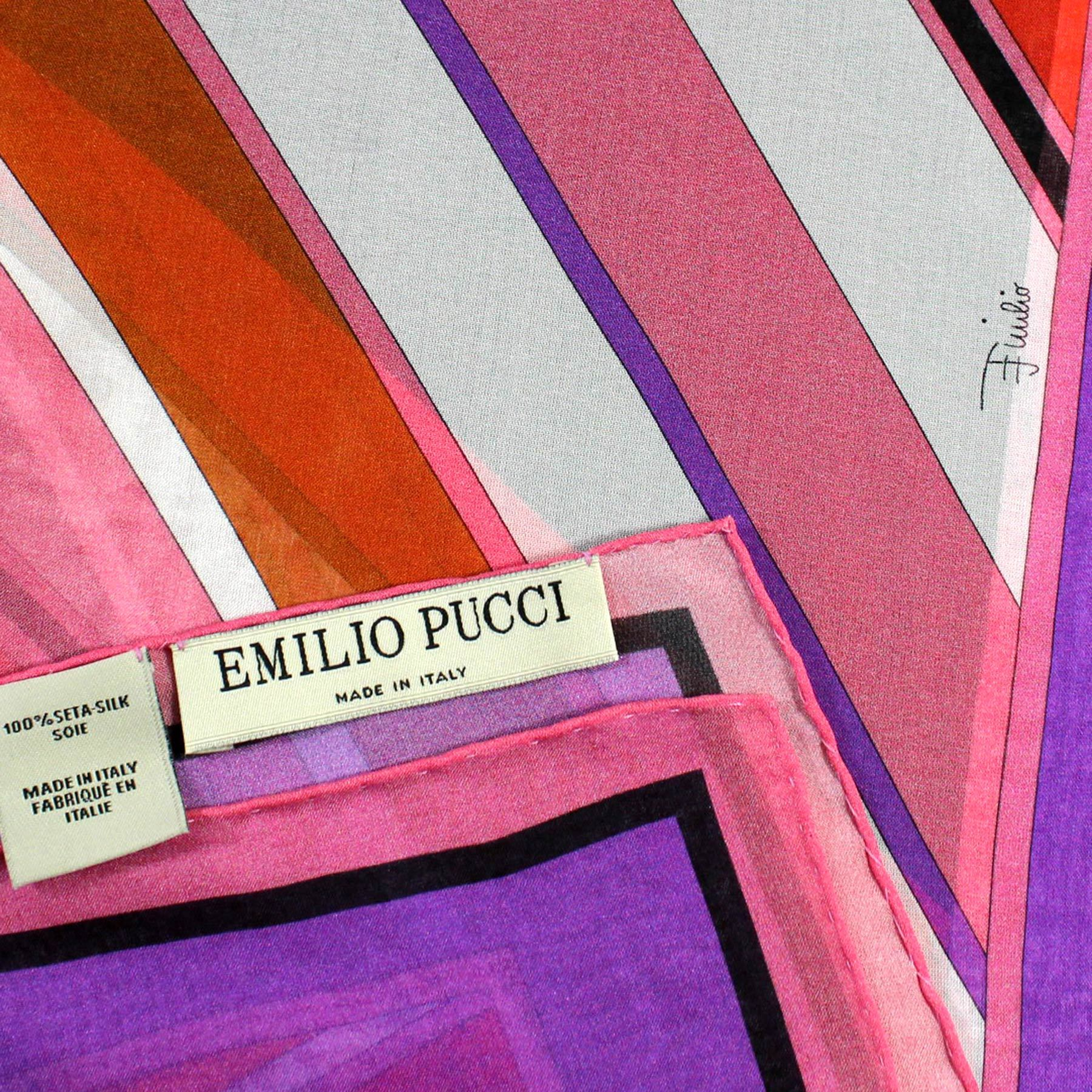 Emilio Pucci Scarf Purple Red Orange Brown Pink