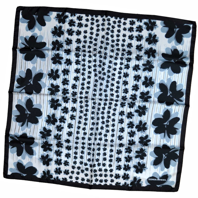 Sonia Rykiel Scarf Black Gray Floral Design Large Square Scarf