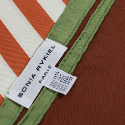 Sonia Rykiel Scarf Brown Stripes Design - Large Twill Silk Scarf FINAL SALE