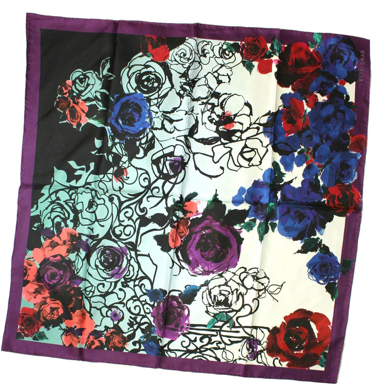 Elie Saab Scarf Purple Red Roses Floral - Twill Silk Square Scarf