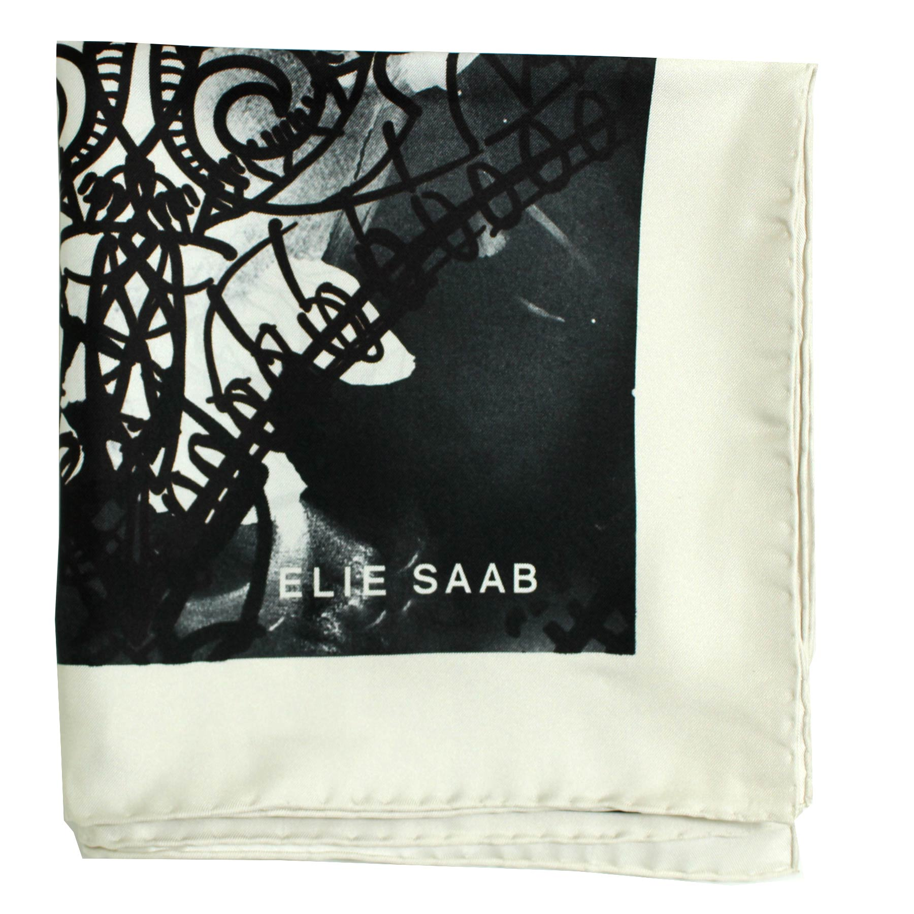 14eb77099 Elie Saab Scarf Black Brown White Floral Rose Hand Made In Italy SALE - Como  Milano