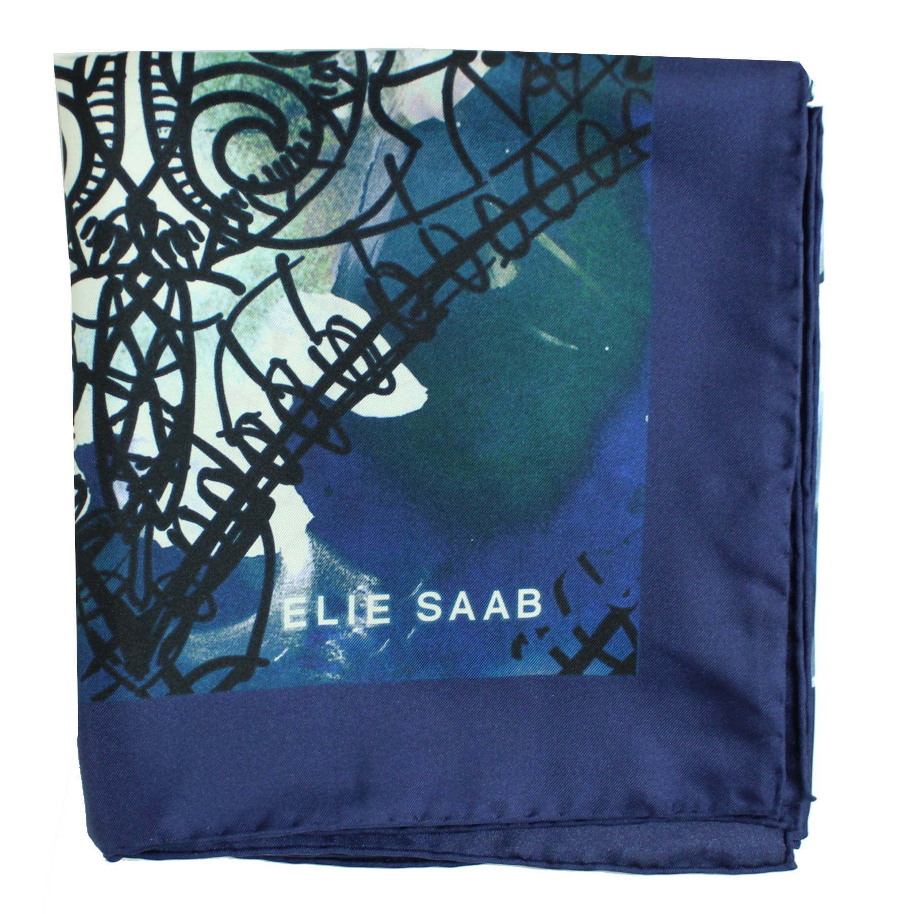 Elie Saab Scarf Midnight Blue Roses Floral & Heart - Twill Silk Square Scarf