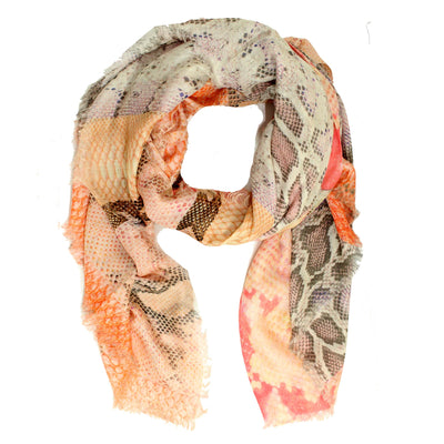Roberto Cavalli Scarf Pink Gray Orange Snake Skin Design Extra Large Wrap SALE