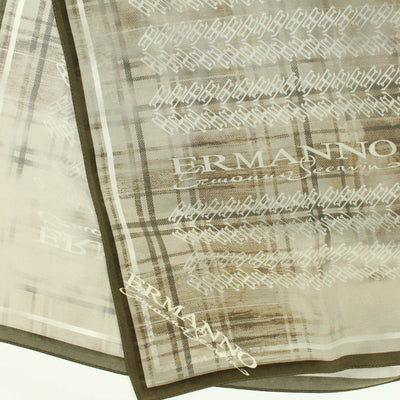 Ermanno Scervino Scarf Cream Taupe-Brown Logo Design Silk Shawl FINAL SALE