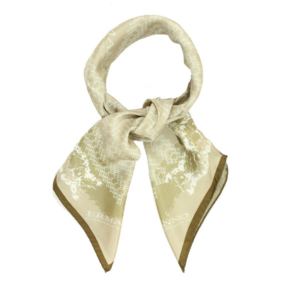 Ermanno Scervino Scarf Cream Taupe Logo Design - Large Twill Silk Scarf FINAL SALE