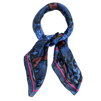 Ermanno Scervino Scarf Blue Snakeskin Design - Large Twill Silk Scarf FINAL SALE